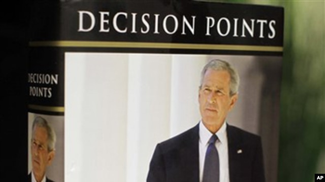 "President George W. Bush's new book ""Decision Points"" is photographed in Washington,  Monday, Nov. 8, 2010"