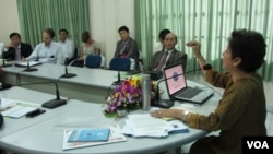NEC committee present their work to international diplomats in Cambodia, file photo.