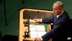 Thủ tướng Israel Benjamin Netanyahu phát biểu trong phiên họp Đại hội đồng Liên Hiệp Quốc lần thứ 71 tại New York, ngày 22 tháng 9 năm 2016.