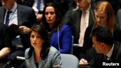 United States Ambassador to the United Nations Nikki Haley addresses the U.N. Security Council on Syria during a meeting of the Council at U.N. headquarters in New York, March 12, 2018.