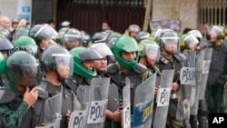 柬埔寨防暴警察准备应对反对党支持者示威 (资料图片)