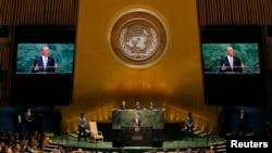 Le président Barack Obama, devant l'Assemblée générale des Nations Unies le 24 septembre 2014 (Reuters)
