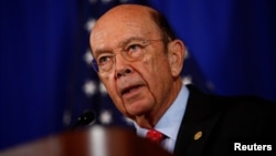 FILE - U.S. Commerce Secretary Wilbur Ross holds a news conference at the Department of Commerce in Washington, D.C., March 10, 2017.