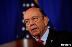 FILE - U.S. Commerce Secretary Wilbur Ross holds a news conference at the Department of Commerce in Washington, March 10, 2017.