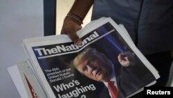 Hình TT Trump xuất hiện trên một tờ báo.