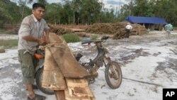 Một người dân Kampuchea cột gỗ vào xe để chở đến công ty gỗ trong khi 2 nhà điều tra của Liên hiệp quốc xem xét khu vưc thuộc công ty khai thác gỗ