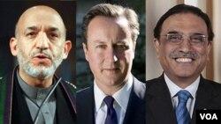 آصف علی زرداری، دیفید کمرون و حامد کرزی