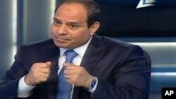 فتاح السیسی در جریان مصاحبه با تلویزیون دولتی مصر