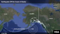وضیعت زلزله روی داده در نزدیکی آلاسکا