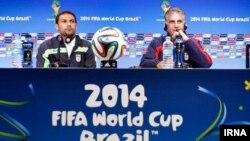 کارلوس کی روش و رحمان احمدی در کنفرانس خبری پیش از بازی با بوسنی