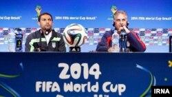 کارلوس کی روش و رحمان احمدی در کنفرانس خبری پیش از بازی با بوسنی و هرزگوین