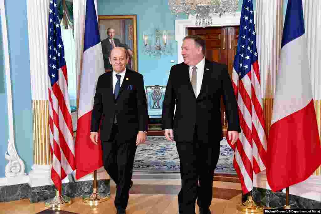 مایک پمپئو وزیر خارجه آمریکا در واشنگتن میزبان«ژان ایو لودریان» وزیر امور خارجه فرانسه بود.