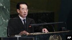 1일 뉴욕 유엔본부에서 열린 제67차 유엔 총회에서 연설하는 북한의 박길연 외무성 부상.