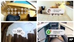 Bức ảnh tổng hợp của Google về chiếc kính thử nghiệm, có thể chỉ hướng đi, tán gẫu, mua hàng, và nhiều công dụng khác mà người sử dụng có thể thực hiện chỉ với một dụng cụ cầm tay