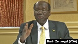 South Sudan Foreign Minister Barnaba Marial Benjamin talked to reporters at a news conference in Washington, D.C. on Dec. 4, 2014.