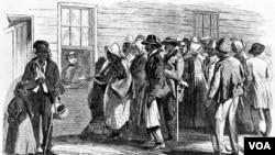 Este dibujo del artista James E. Taylor es de la oficina del Freedmen's Bureau en el estado de Virginia en 1866.