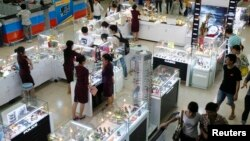 Luxury items are displayed for sale at a Saigon Coop supermarket in Hanoi.