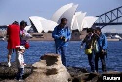 호주 시드니의 중국 관광객들. (자료사진)