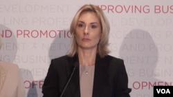 Jelena Pavlović, predsednica UO Amchama na predstavljanju istraživanja o uslovima poslovanja u Srbiji