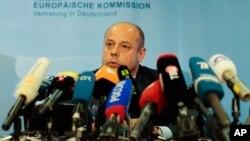 El ministro de Energía de Ucrania, Yuri Prodan, dio una rueda de prensa en Berlín.