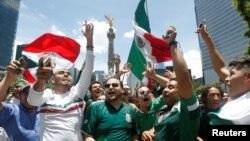 Los mexicanos celebraron el domingo, 17 de junio de 2018, en las calles de la Ciudad de México, el triunfo de su selección ante Alemania en el Mundial de Rusia.