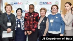 U.S. Ambassador to Uzbekistan Pamela Spratlen and conference attendees in Tashkent.