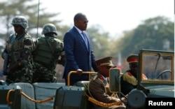 FILE - Burundi's President Pierre Nkurunziza arrives for an independence day celebration in Bujumbura, July 1, 2017.