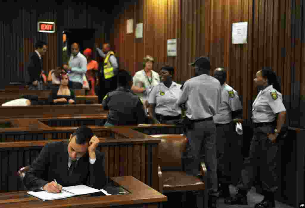 Oscar Pistorius prior to his third day of sentencing at the high court in Pretoria, South Africa, Oct. 15, 2014.