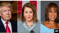 """(Top row, L-R): President Donald Trump, House Speaker Nancy Pelosi, CBS News' Gayle King, (Bottom row, L-R): are among the people honored in Time's """"100 Most Influential People in the World"""" issue, April 17, 2019."""