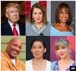 "This combination photo shows (Top row, L-R): President Donald Trump, House Speaker Nancy Pelosi, CBS News' Gayle King, (Bottom row, L-R): Actor-producer Dwayne Johnson, actress Sandra Oh and singer Taylor Swift, who are among the people honored in Time's ""100 Most Influential People in the World"" issue."