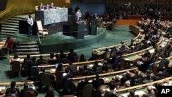 聯合國安理會將考慮巴勒斯坦爭取入聯努力﹐圖為巴勒斯坦民族權力機構主席阿巴斯9月21日在聯合國大會上講話 。