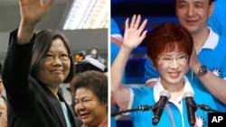 Taiwan's presidential candidates Tsai Ing-wen (L) and Hung Hsiu-chu. (AP Photos)