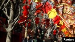 北京地壇公園的春節節日裝飾。(2019年2月1日)