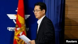 South Korea's Defense Ministry spokesman Kim Min-seok attends a briefing at the Defense Ministry in Seoul, Sept. 24, 2013.