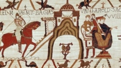 Detail from the Bayeux Tapestry in France. The cloth, over 68 meters long, tells about the Norman conquest of England, the event marking the beginning of French influence on the English language