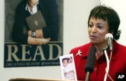 FILE - In this Feb. 25, 2004 file photo, Carla Hayden speaks in Seattle. President Barack Obama has nominated Hayden, the longtime head of Baltimore's library system as the next Librarian of Congress.