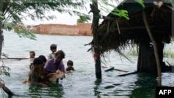 Dân làng ở Pakistan cố gắng cứu gia súc trong khi nhà cửa của họ chìm trong nước lụt