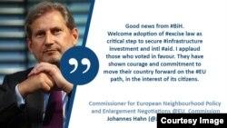 Johannes Hahn na Twitteru: Aplaudiram onima koji glasali za Zakon