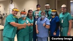The face shields 3D printed by students from Camdenton High School were first donated to health care workers at Lake Regional Hospital in Osage Beach, Missouri. (Photo Courtesy: Mizzou News/University of Missouri)