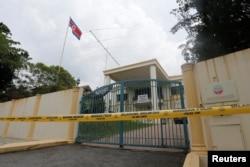 지난 7일 말레이시아 경찰이 쿠알라룸푸르 주재 북한대사관 주변에 출입통제선을 설치했다.