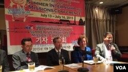 미주한인교회연합 샘 김 사무총장(맨 오른쪽)이 5일 기자회견에서 올해 행사에 대해 설명하고 있다.