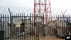 A partially burnt down communication tower area destroyed by Boko Haram in Maiduguri, Nigeria, Friday, Sept. 7, 2012.
