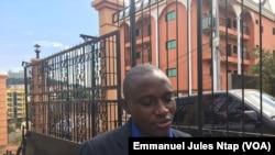 Eric Boniface Tchouakeu, chef station radio Siantou à Yaoundé, au Cameroun, le 11 mars 2018. (VOA/Emmanuel Jules Ntap)