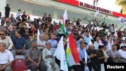 지난 9일 이라크 슐레이마니아에서 쿠르드계 분리독립 주민투표를 지지하는 세력이 시위를 벌이고 있다.