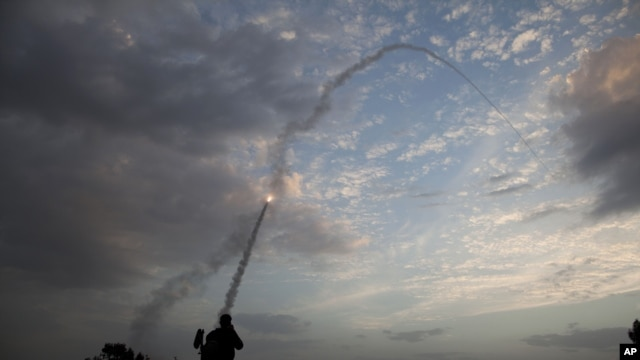 An Iron drome missile is launched from Tel Aviv to intercept a rocket fired from Gaza, Nov. 17, 2012.