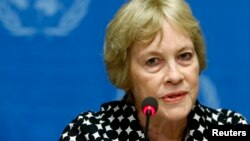 FILE - Karen Koning AbuZayd, currently a special adviser for the U.N. Summit on Refugees and Migrants, to be held in Septermber in New York, attends a news conference at the United Nations headquarters in Geneva, Switzerland, Aug. 27, 2014.