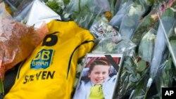 Ảnh bé trai Steven Noreilde, một nạn nhân trên chuyến bay MH17 tại sân bay Schiphol ở Amsterdam.