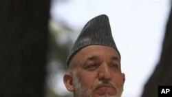 기자회견을 가진 하미드 카르자이 아프가니스탄 대통령