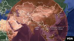 Vùng phủ phi đạn Agni-4 của Ấn Độ