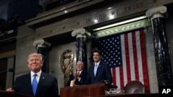 川普总统在国会发表国情咨文演说。(2018年1月30日)